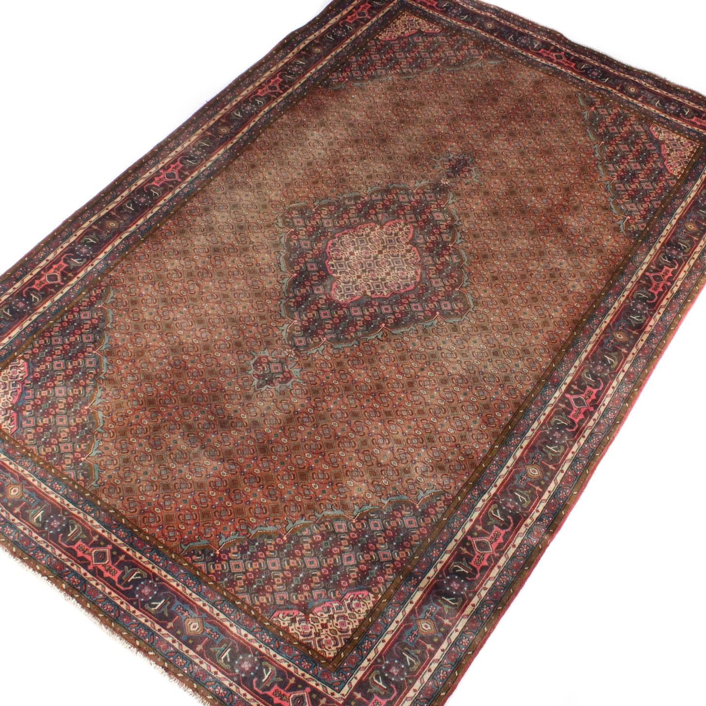 Vintage Hand-Knotted Persian Bijar Wool Area Rug