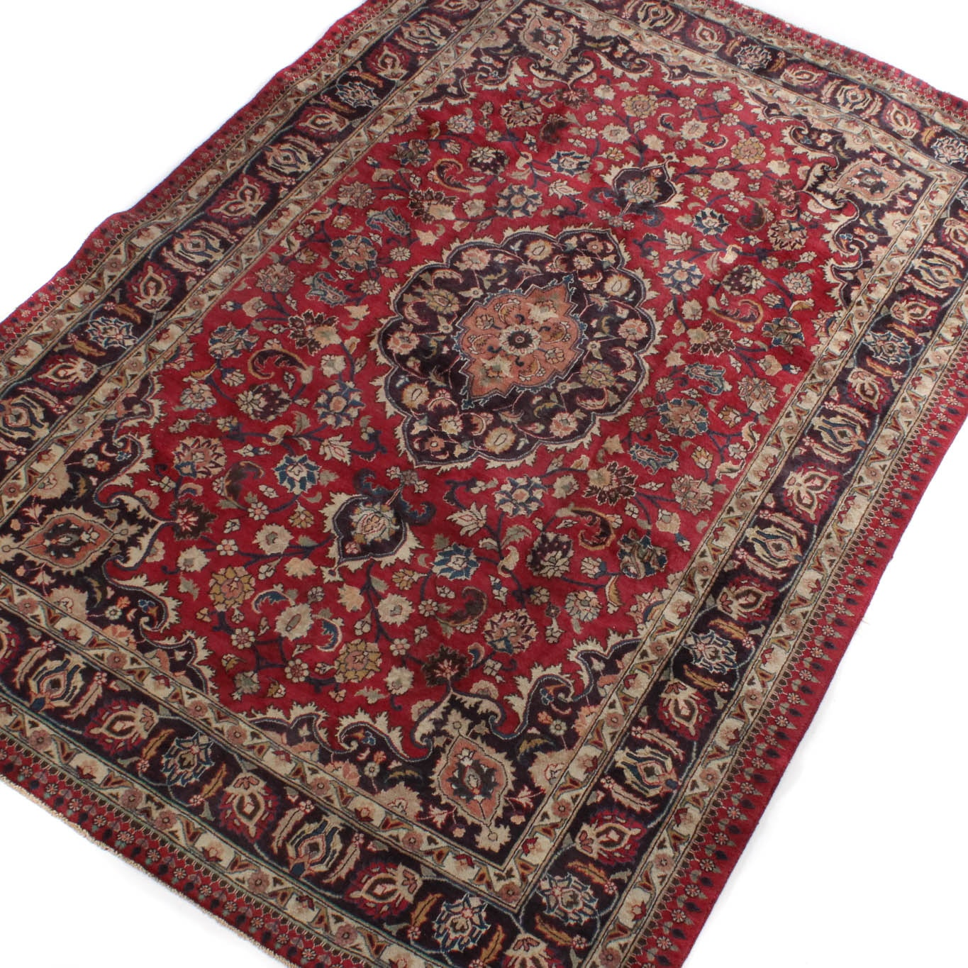 Vintage Hand-Knotted Persian Qom Wool Area Rug