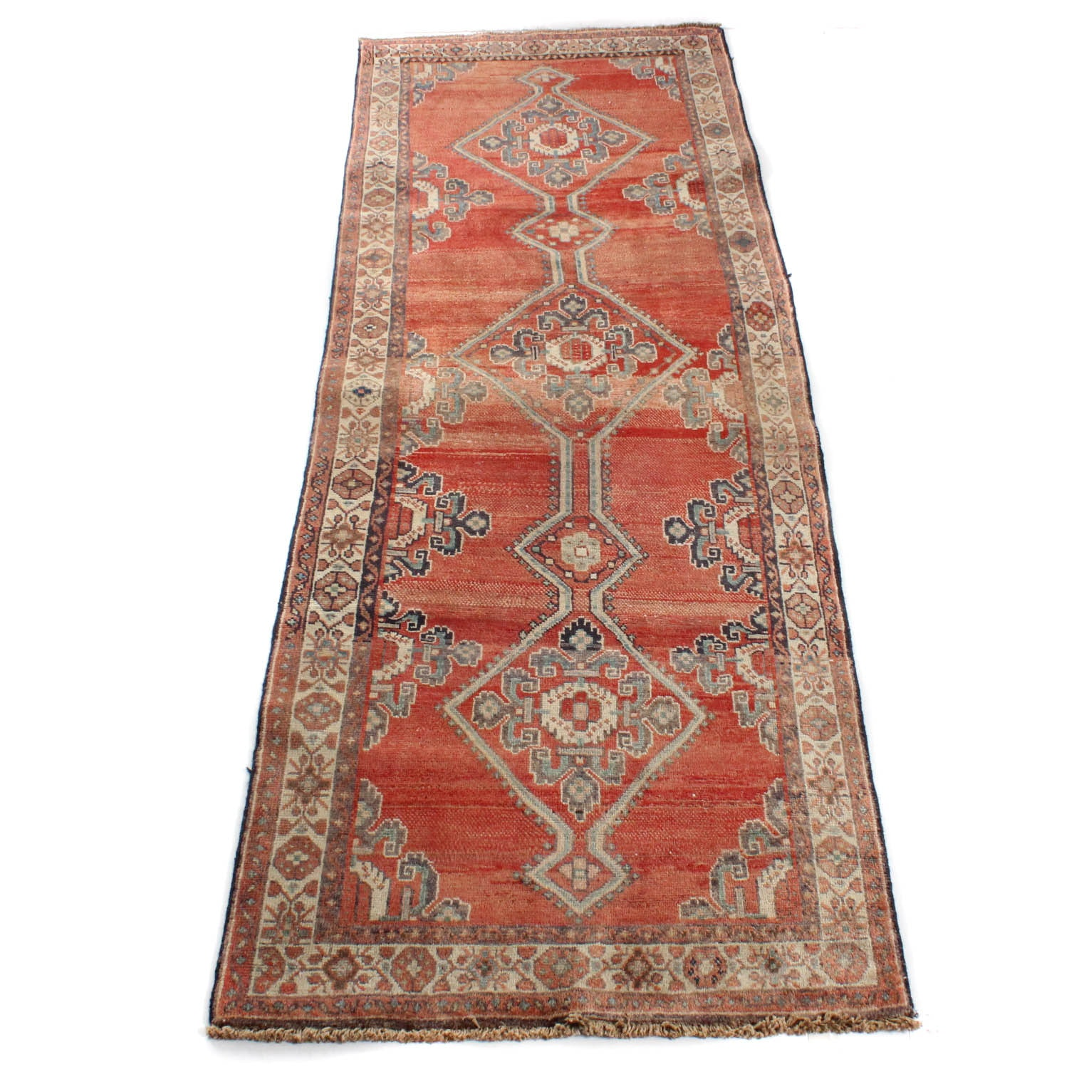 Vintage Hand-Knotted Persian Karaja Heriz Carpet Runner