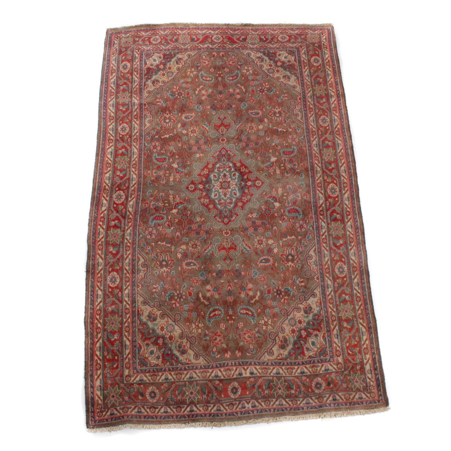 Vintage Hand-Knotted Persian Kashan Wool Area Rug