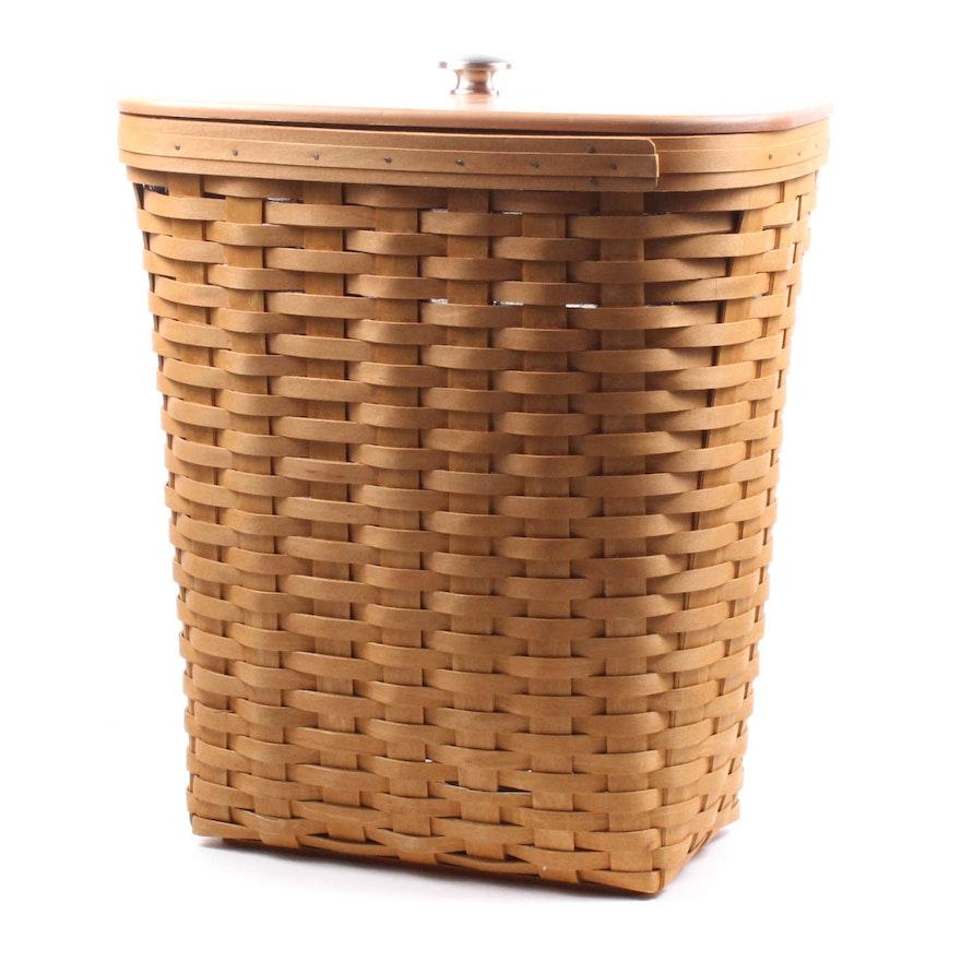 Longaberger Medium Waste Basket With Lid And Liner