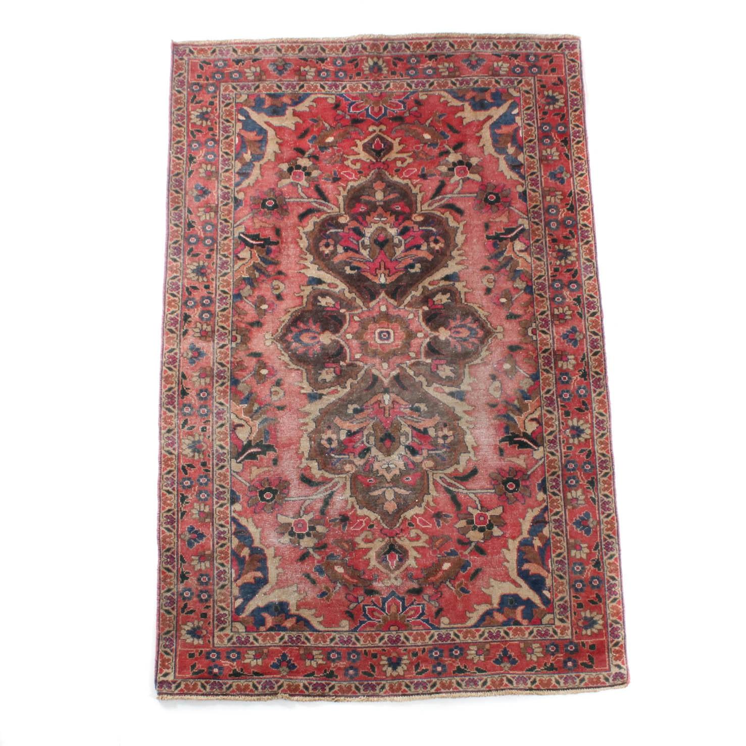 Vintage Handwoven Persian Mahal Sarouk Wool Area Rug