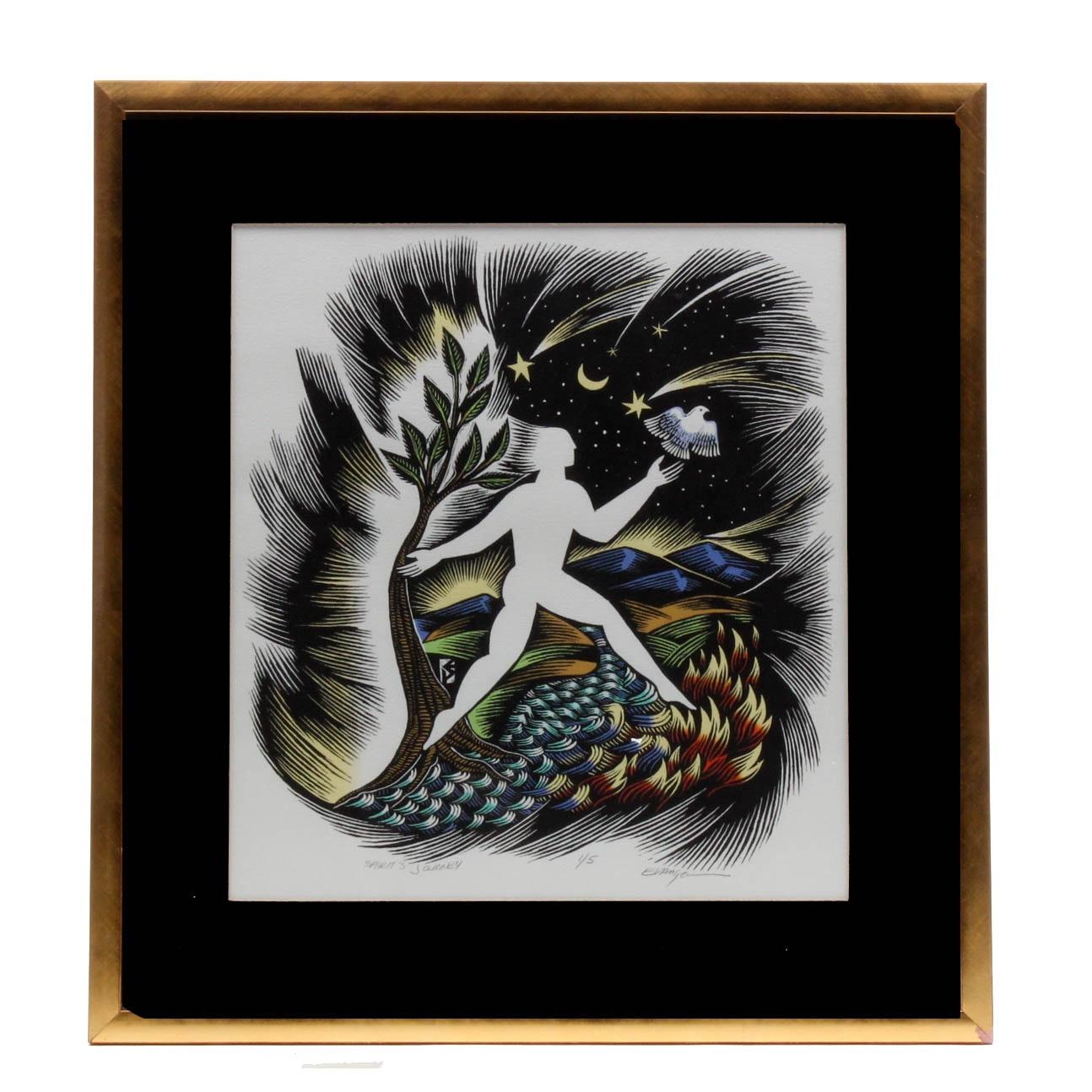 """Evangelia Philippidis Limited Edition Linoleum Cut """"Spirit's Journey"""""""