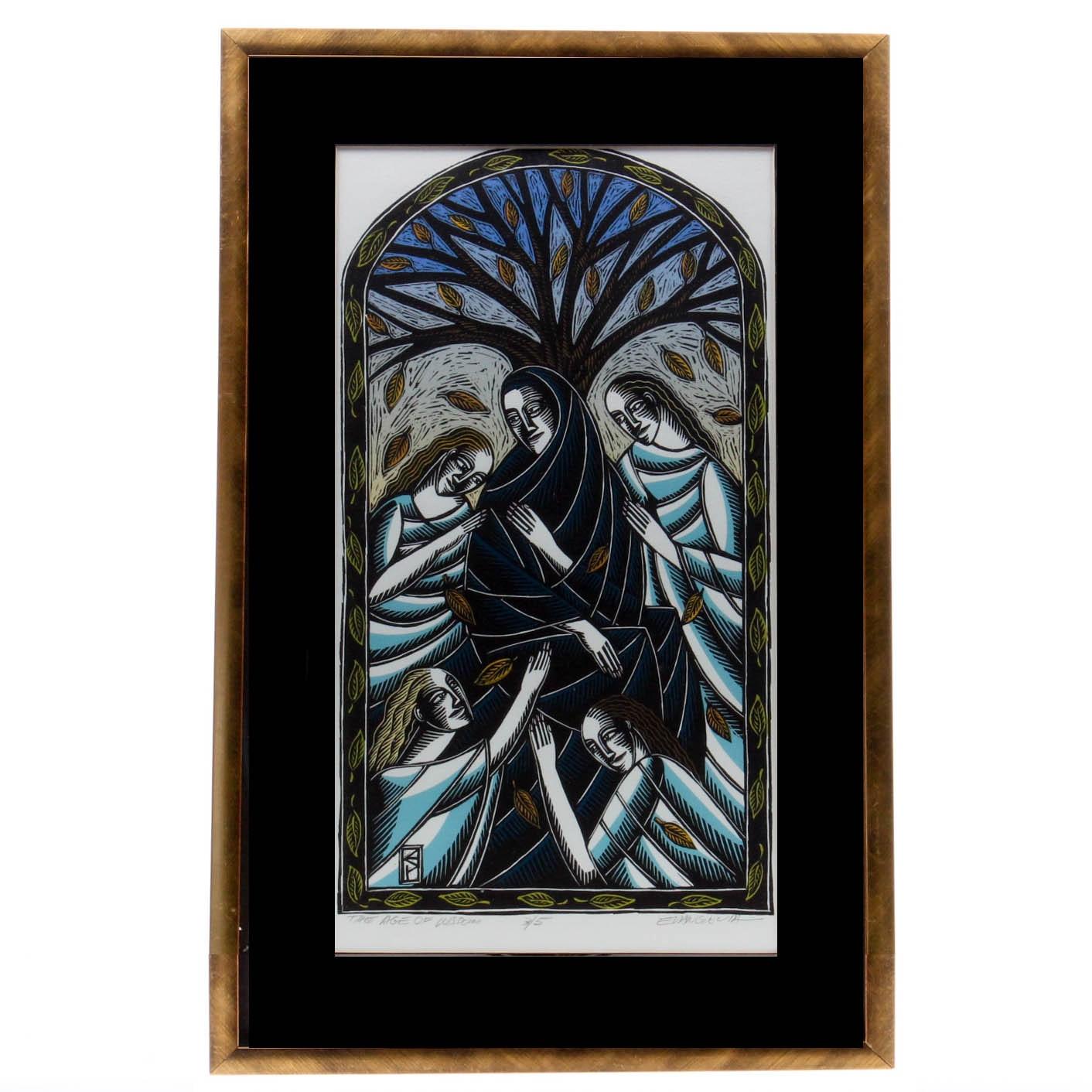 "Evangelia Philippidis Limited Edition Linoleum Cut ""The Age of Wisdom"""