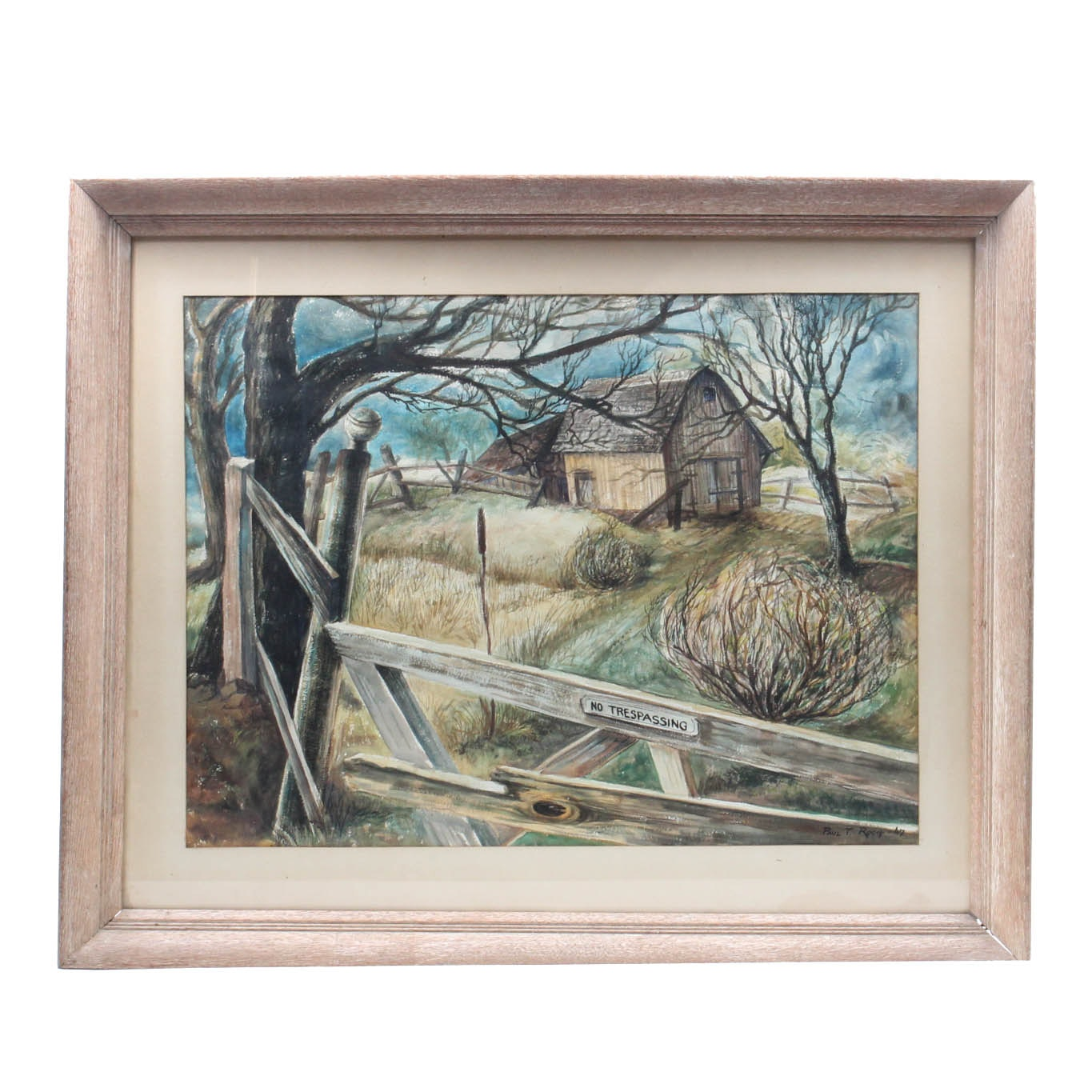 "Paul Roch Watercolor Landscape ""No Trespassing"""
