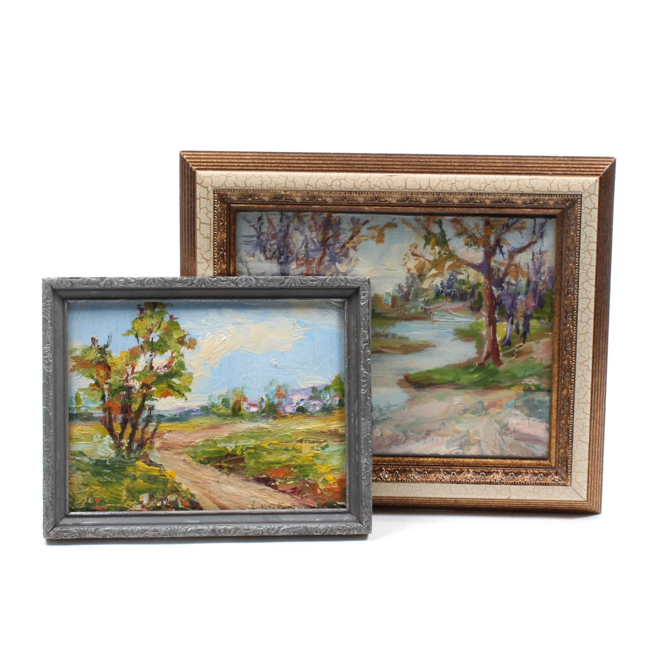 Pair of Laura Foster Oil on Board Landscape Paintings