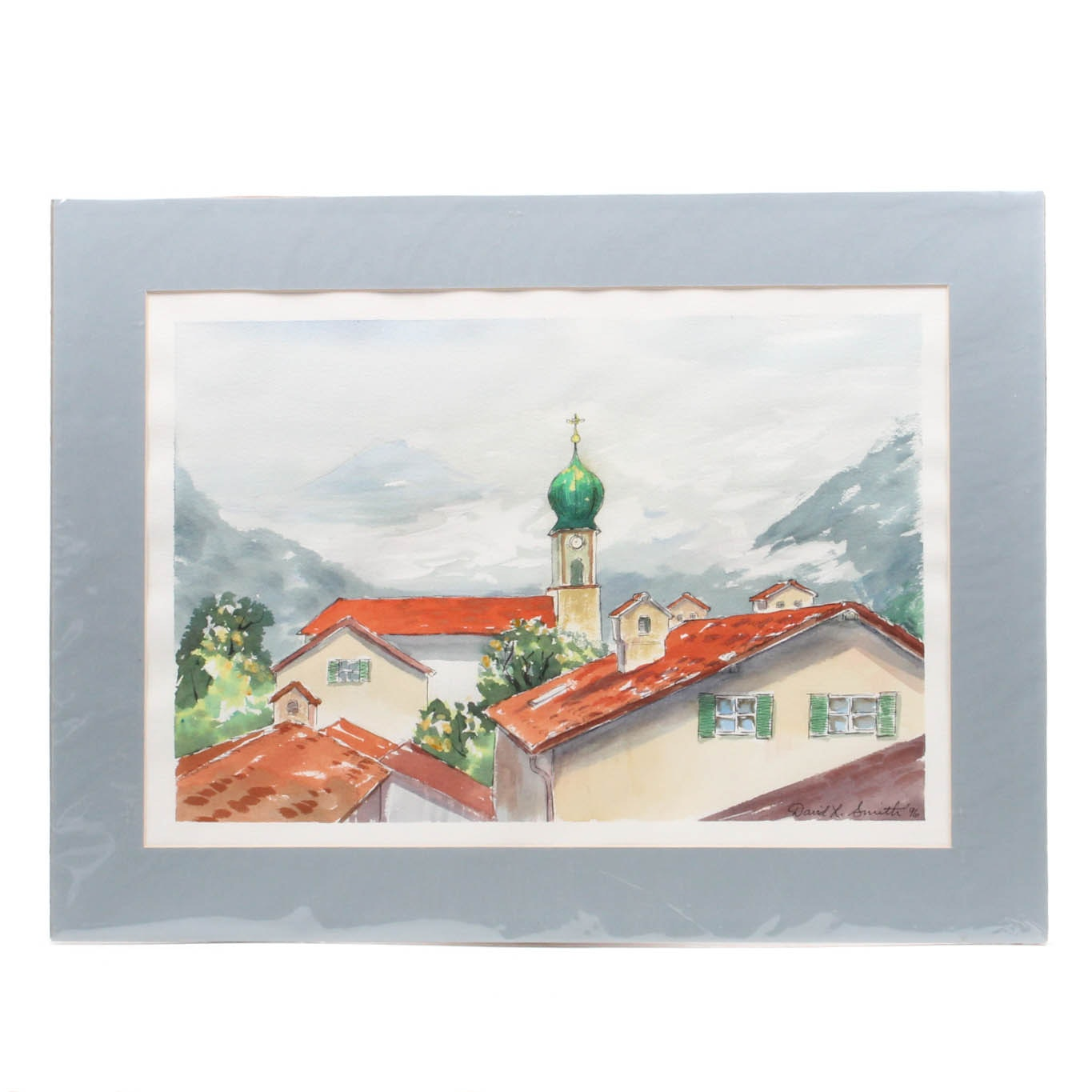 David L. Smith Watercolor Alpine Village Scene