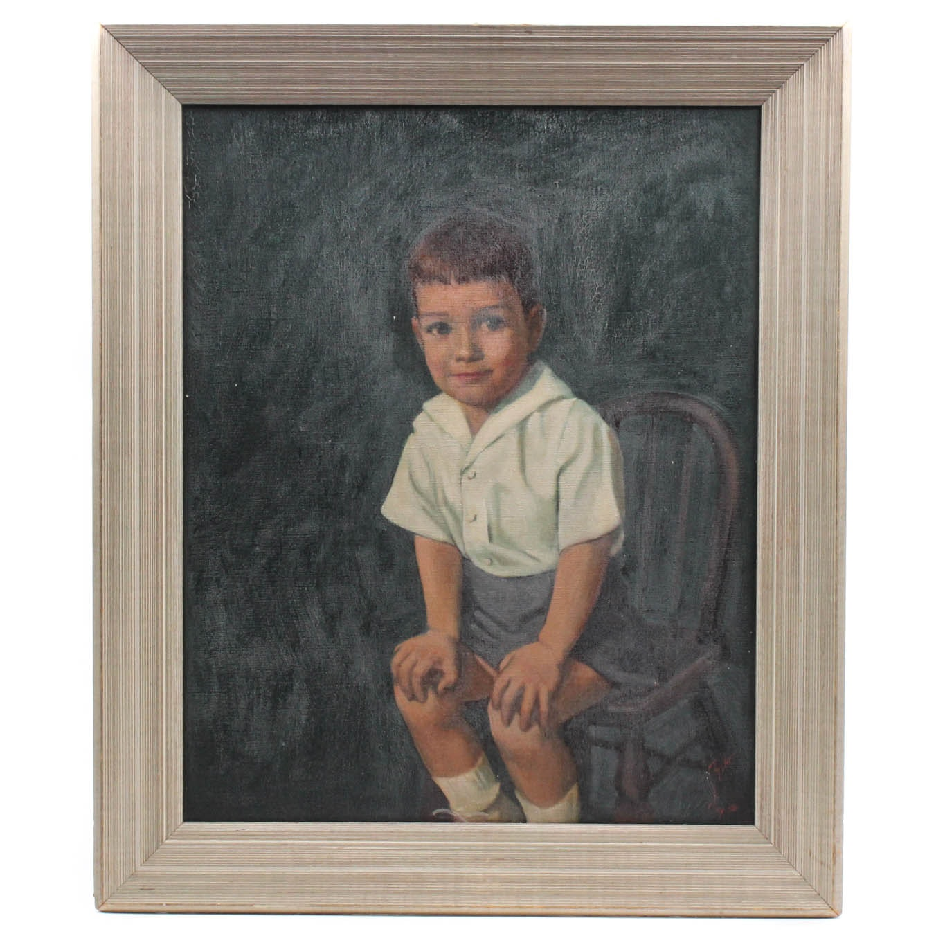 Fisher Oil on Canvas Portrait of a Boy