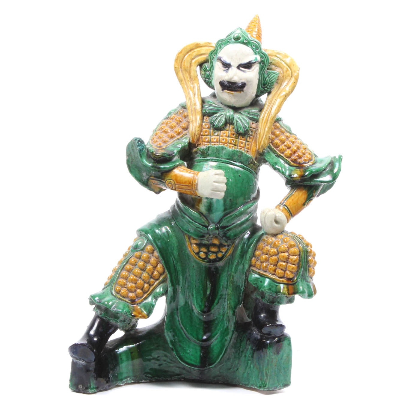 Chinese Ceramic Warrior Roof Tile Sculpture
