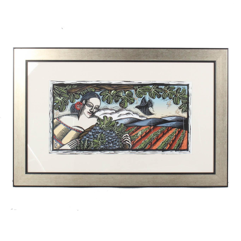 """Evangelia Philippidis Limited Edition Linoleum Cut """"Vinyards of Santorini"""""""