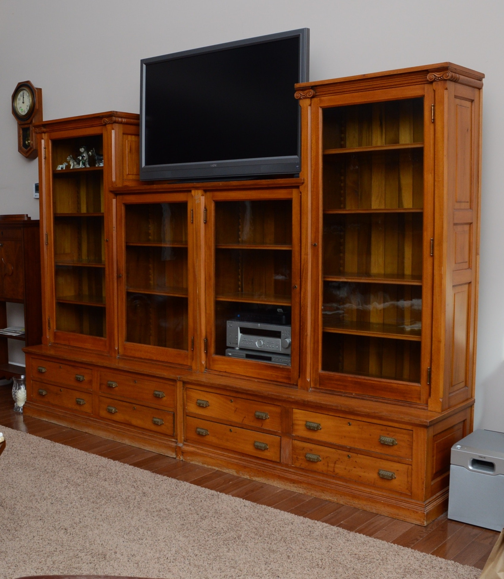 Antique Sycamore Wood Wall Unit