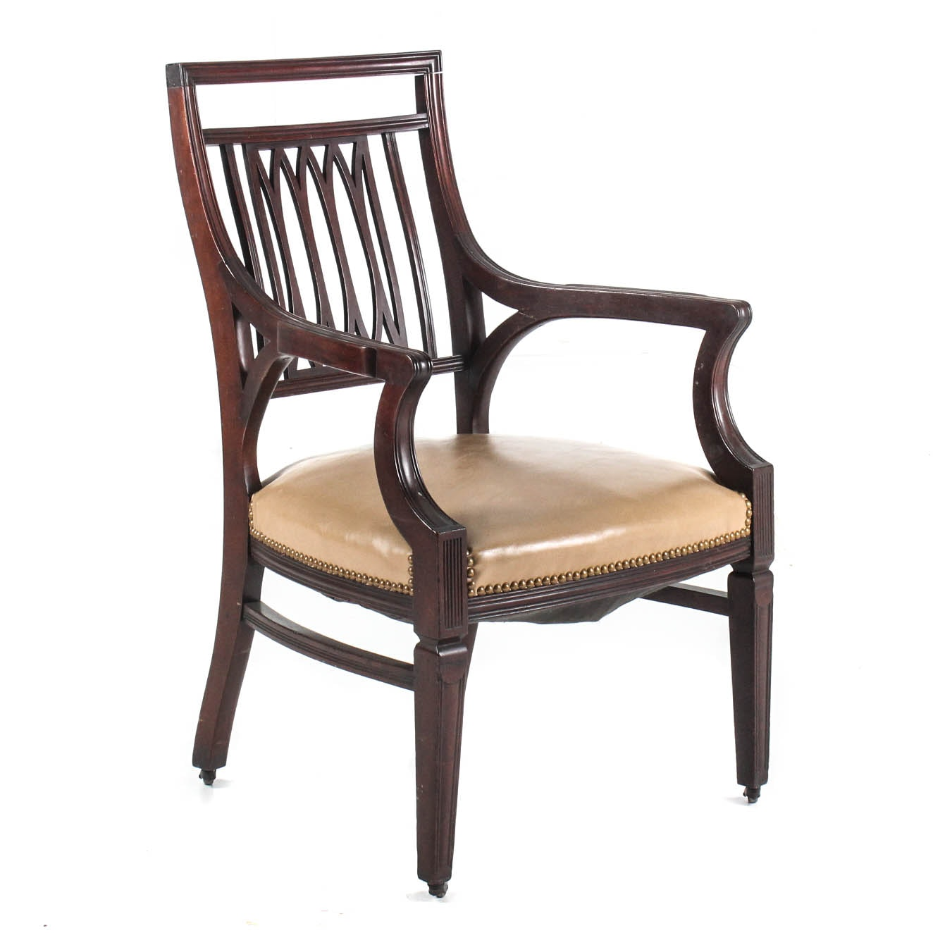 Vintage Mahogany Sheridan Style Arm Chair with Leather Seat