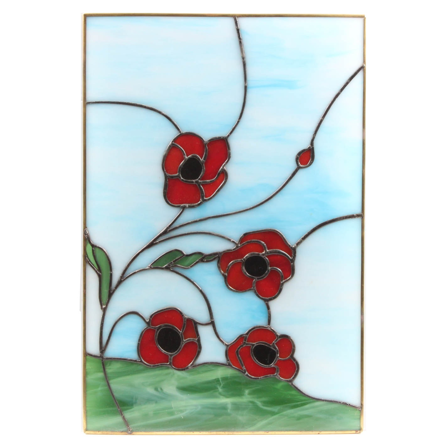 Ruth Elizabeth Green Stained Glass Panel of Flowers