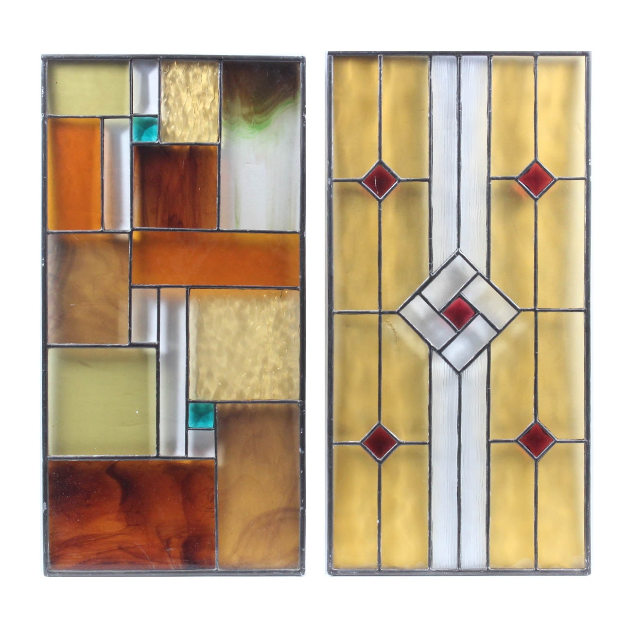 Pair of Ruth Elizabeth Green Geometric Stained Glass Panels
