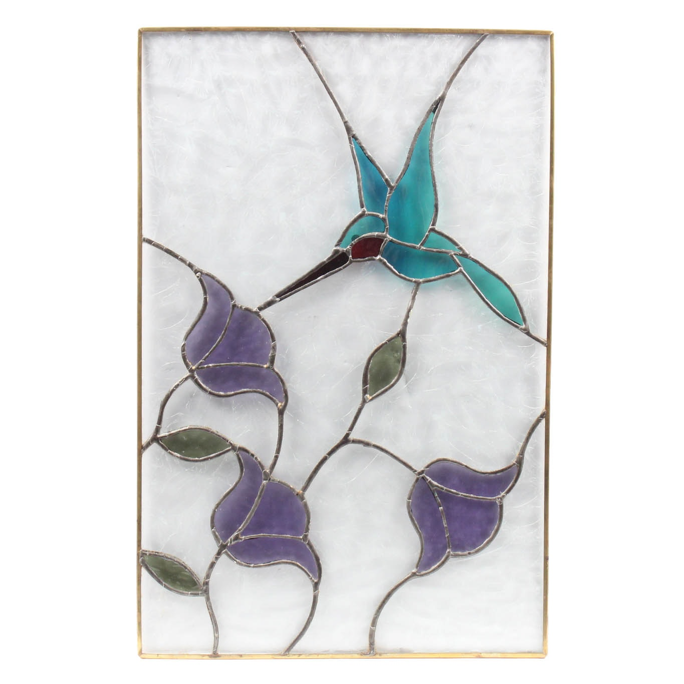 Stained Glass Panel with Hummingbird