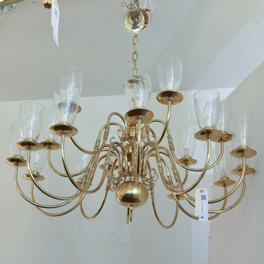 Eighteen Arm Brass Candelabra Chandelier