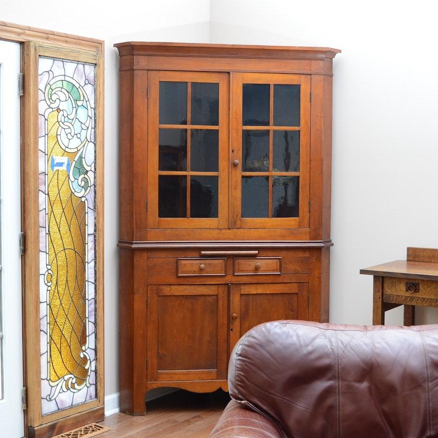 Antique Cherry Corner China Cabinet ... - Antique Cherry Corner China Cabinet : EBTH