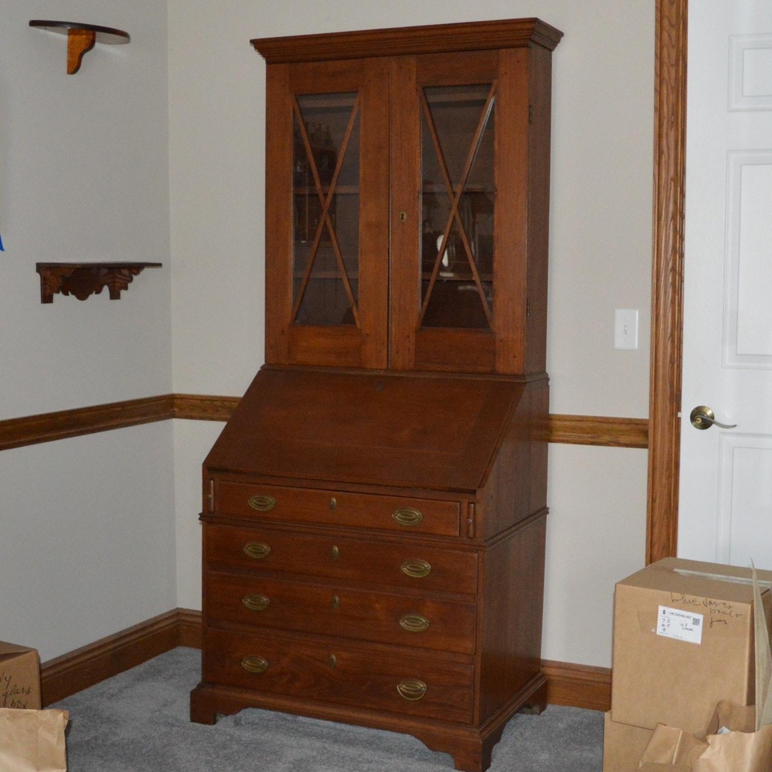 Antique Federal Style Walnut Secretary Desk