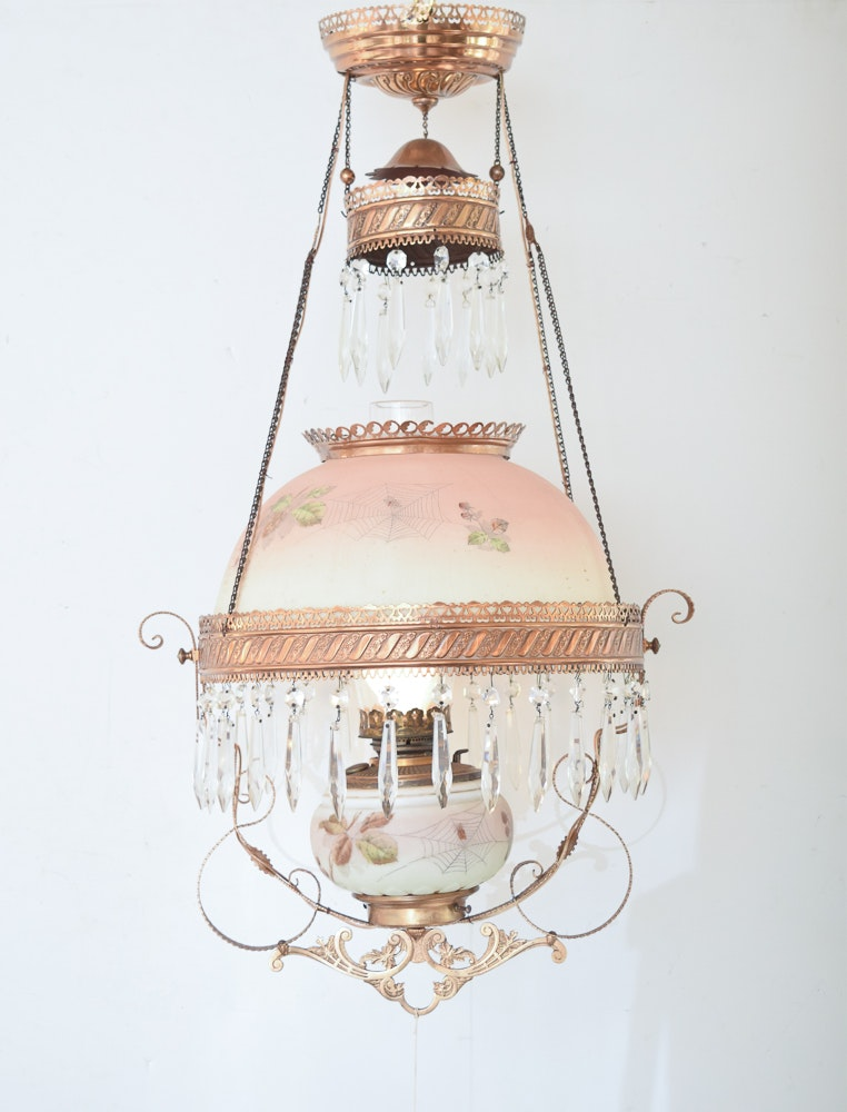 Antique Converted Oil Lamp Chandelier
