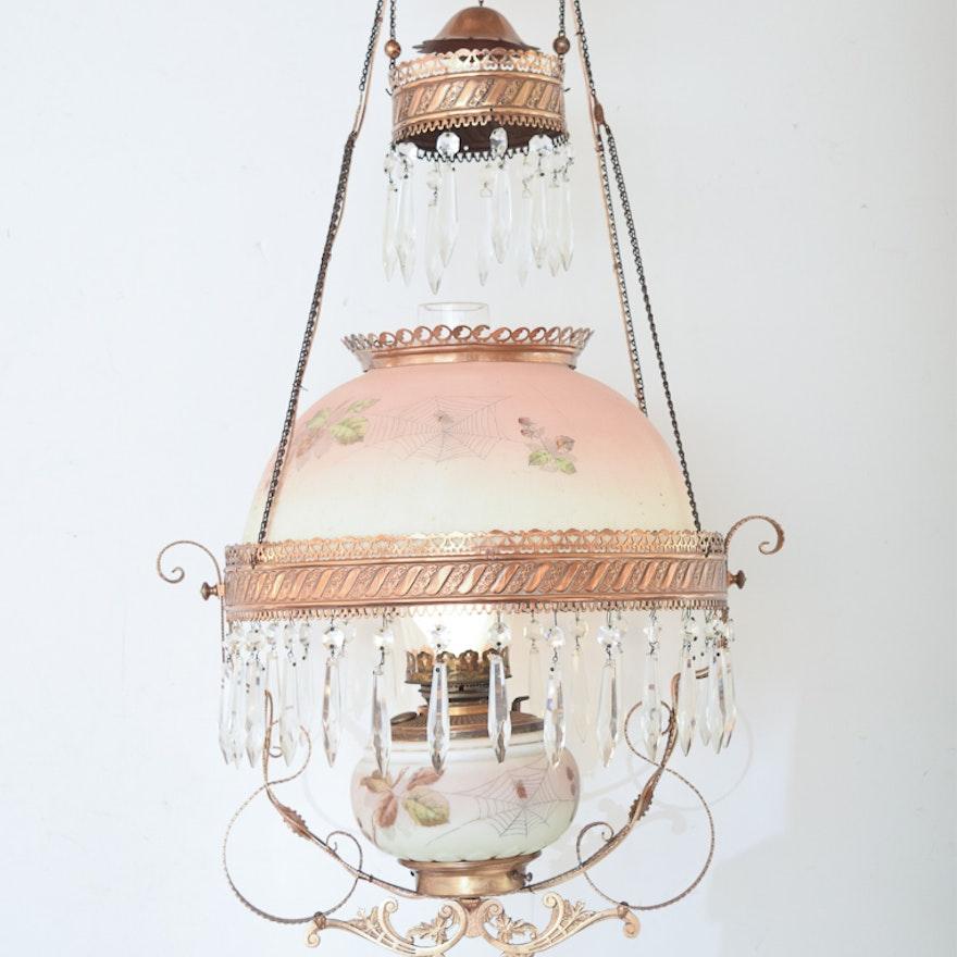 Antique Converted Oil Lamp Chandelier ... - Antique Converted Oil Lamp Chandelier : EBTH