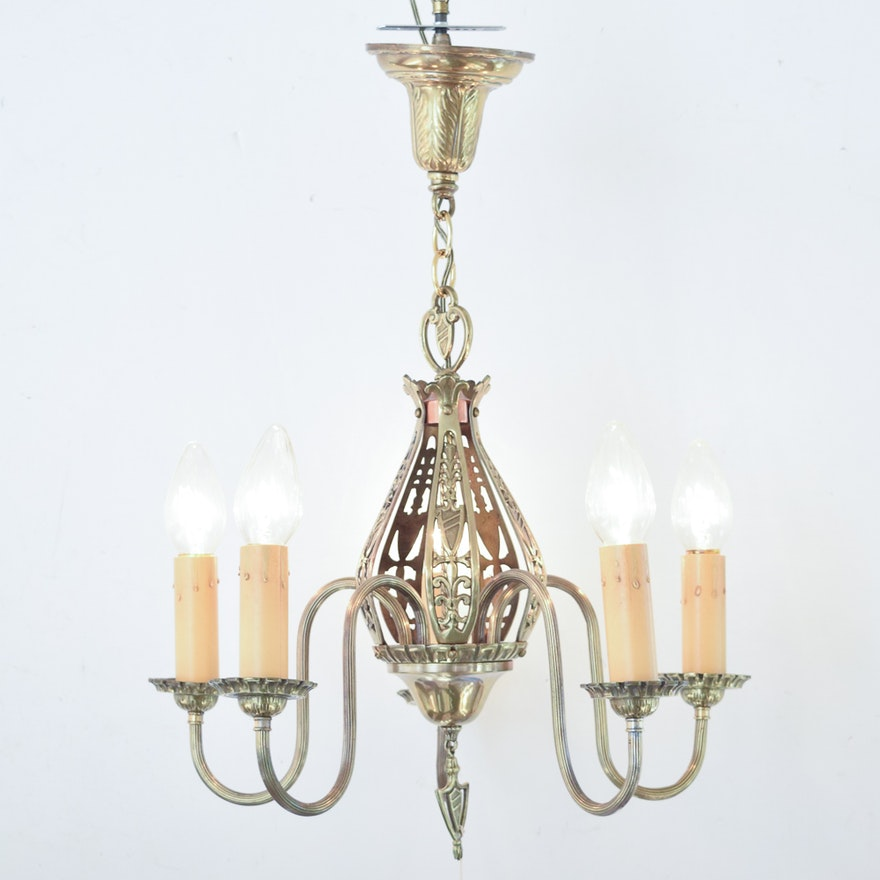 Vintage Candlestick Style Chandelier With Heraldic Motifs