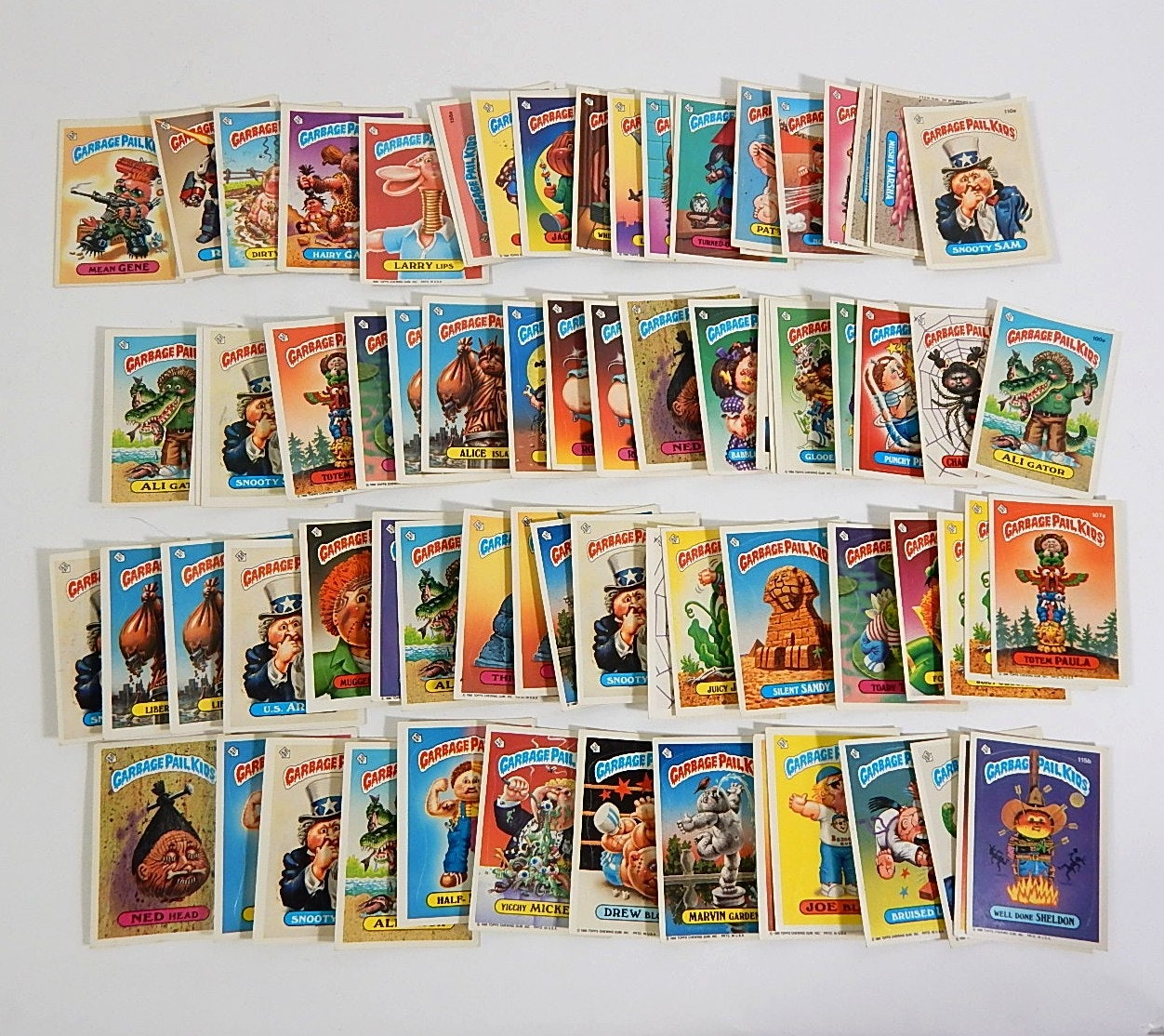 Collection of 1980s Garbage Pail Kids Cards