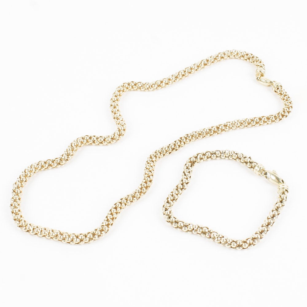 14K Yellow Gold Popcorn Necklace and Bracelet