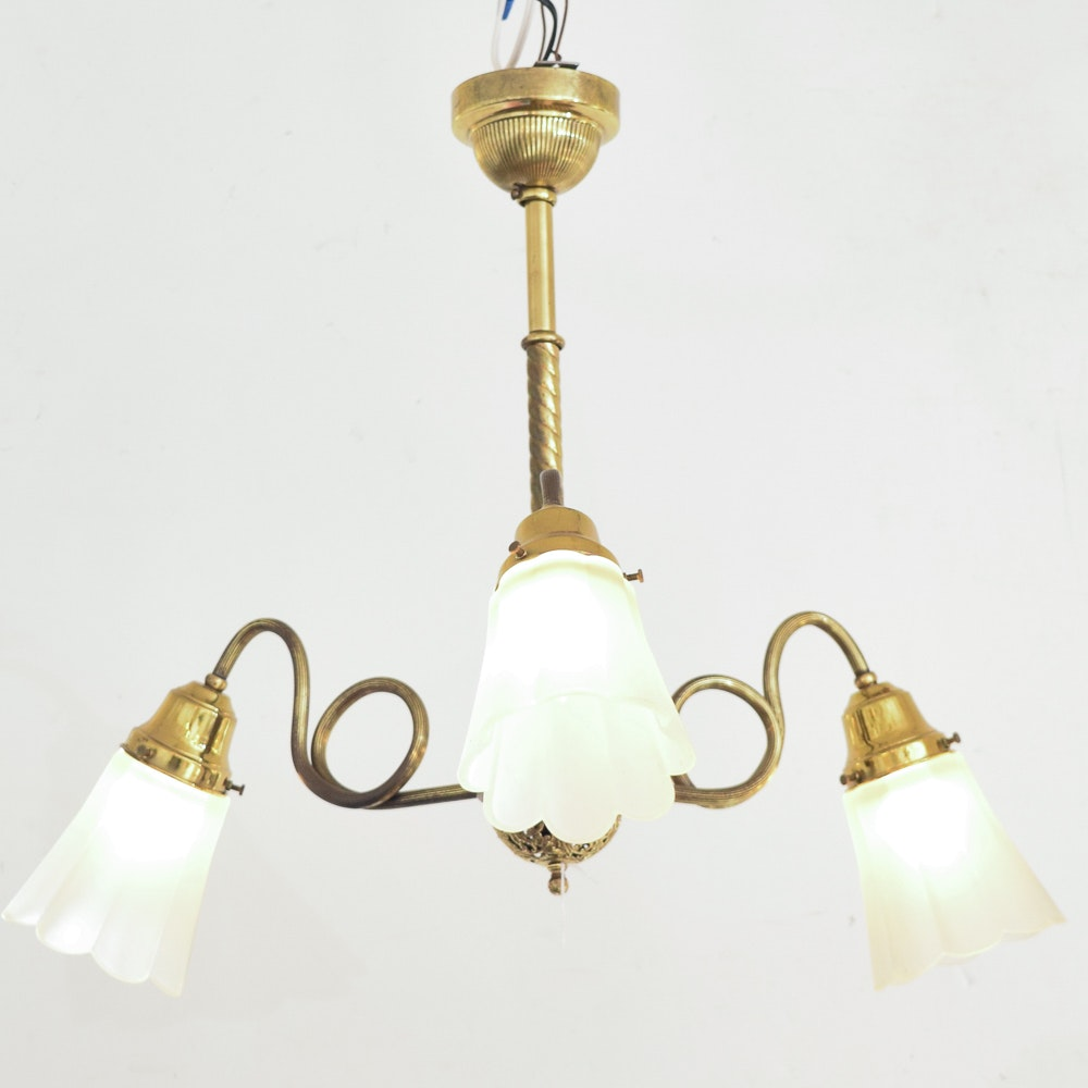 Three Arm Brass Ceiling Light