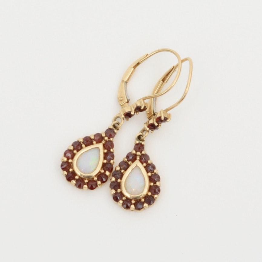 14K Yellow Gold Opal and Garnet Dangle Earrings