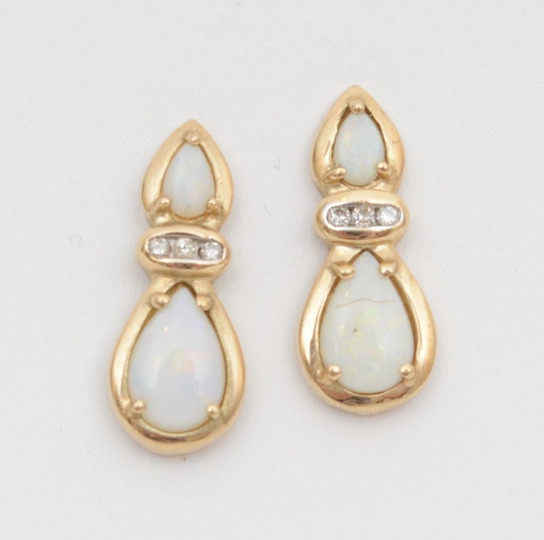 10K Yellow Gold Diamond and Opal Dangle Earrings