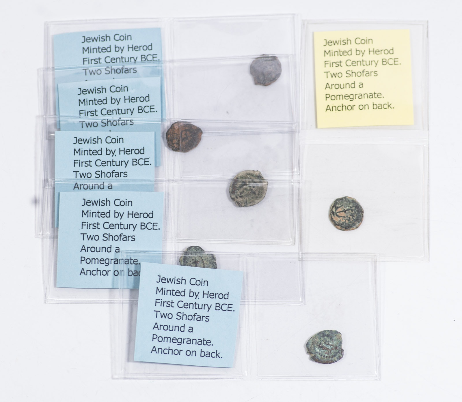 Six Ancient Jewish Prutah Coins Minted Under King Herod the Great