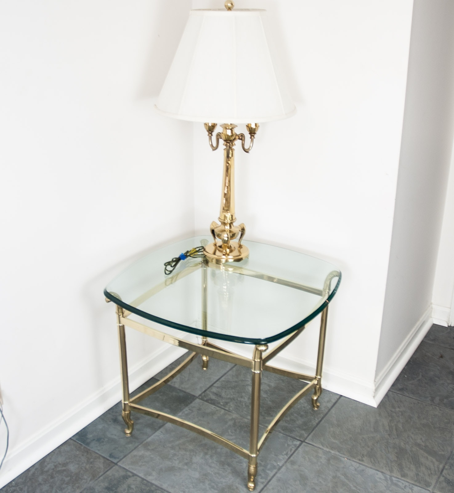 Glass End Table and Lamp