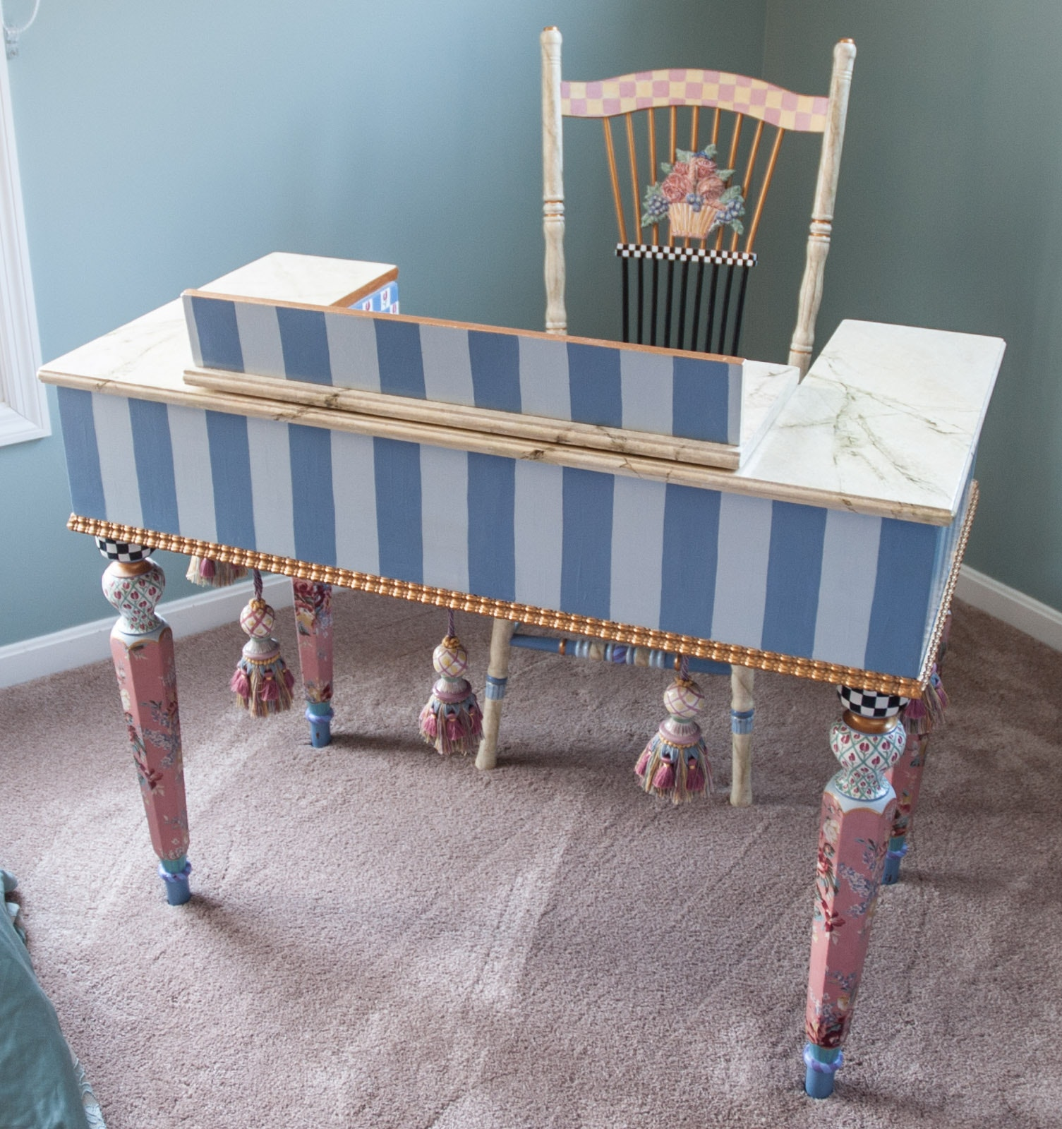 Hand Painted Mackenzie-Childs Style Desk and Chair