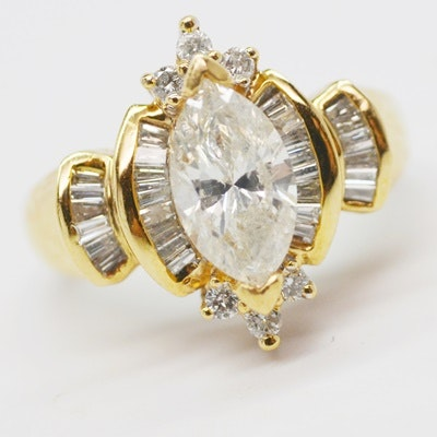 14K Yellow Gold 2.10 CTW Diamond Ring