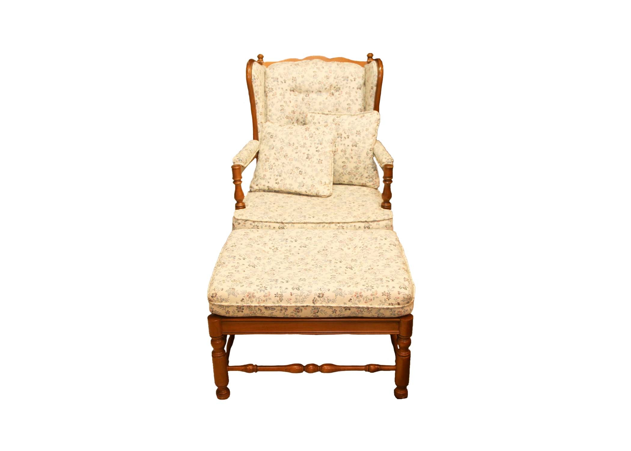Ethan Allen Wing Back Side Chair and Ottoman