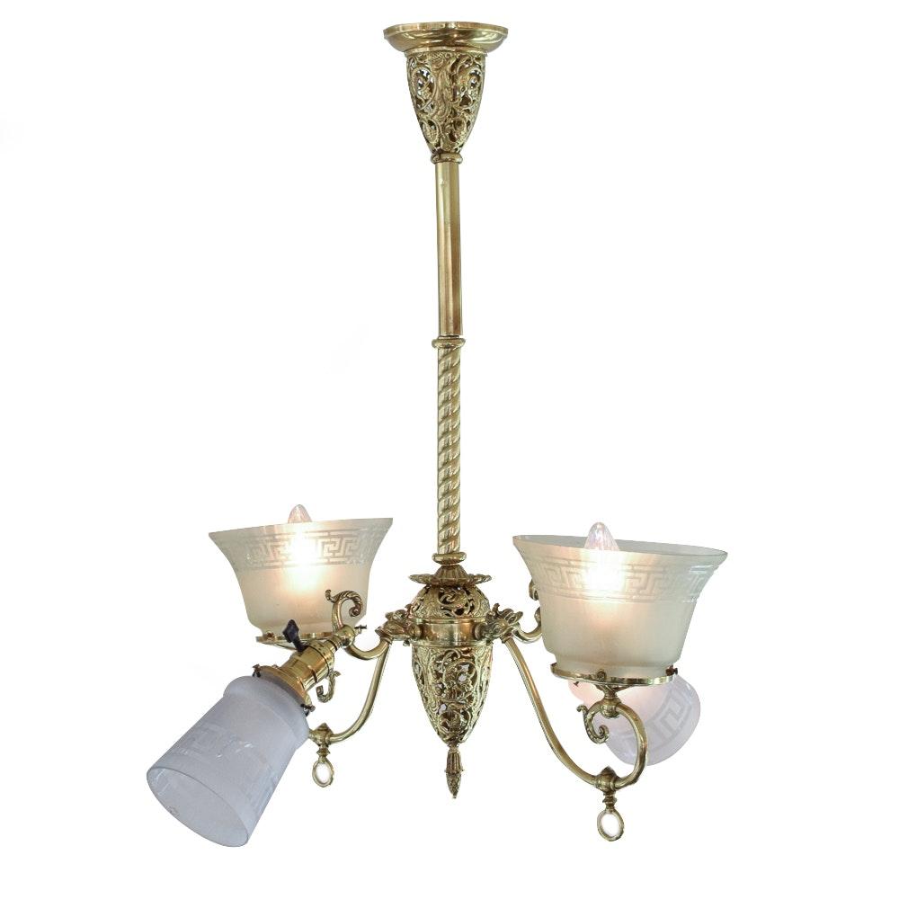 Converted Brass Chandelier