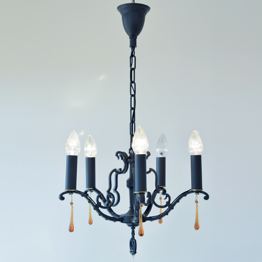 Black Wrought Iron Chandelier With Five Lights