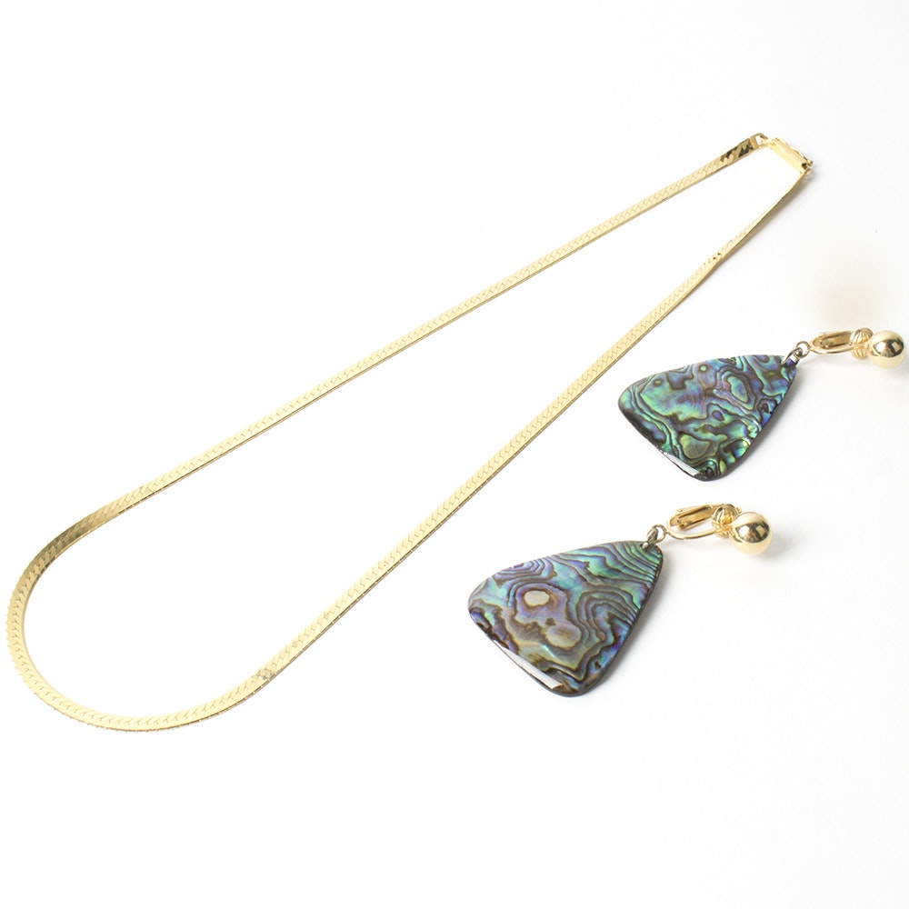 14K Yellow Gold Necklace and Earrings Collection with Abalone