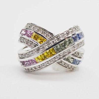 EFFY 14K White Gold Diamond and Fancy Colored Sapphire Slide Pendant