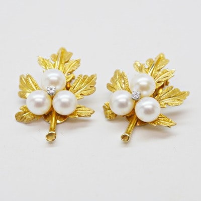 14K Yellow Gold Cultured Pearl and Diamond Clip-On Earrings