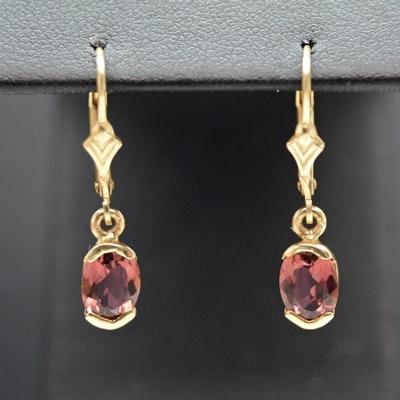 14K Yellow Gold Pink Tourmaline Dangle Earrings