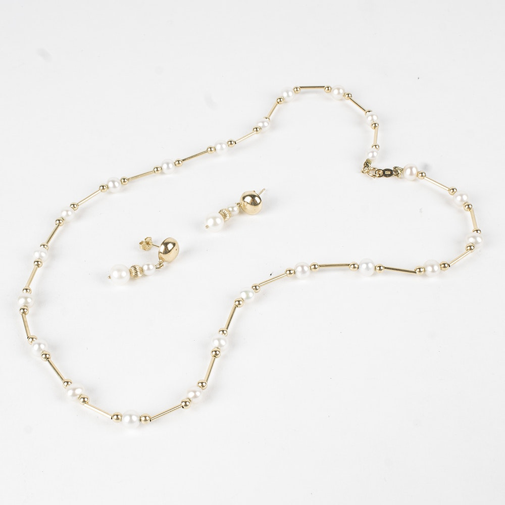 14K Yellow Gold Pearl Necklace and Earrings
