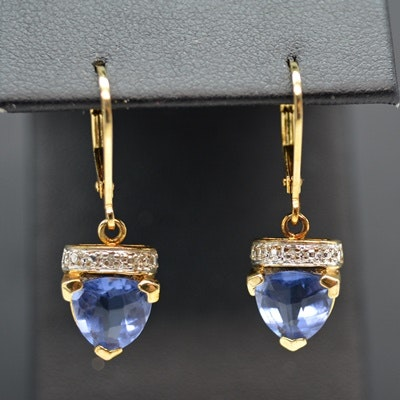 Sterling Silver Diamond and Blue Glass Dangle Earrings