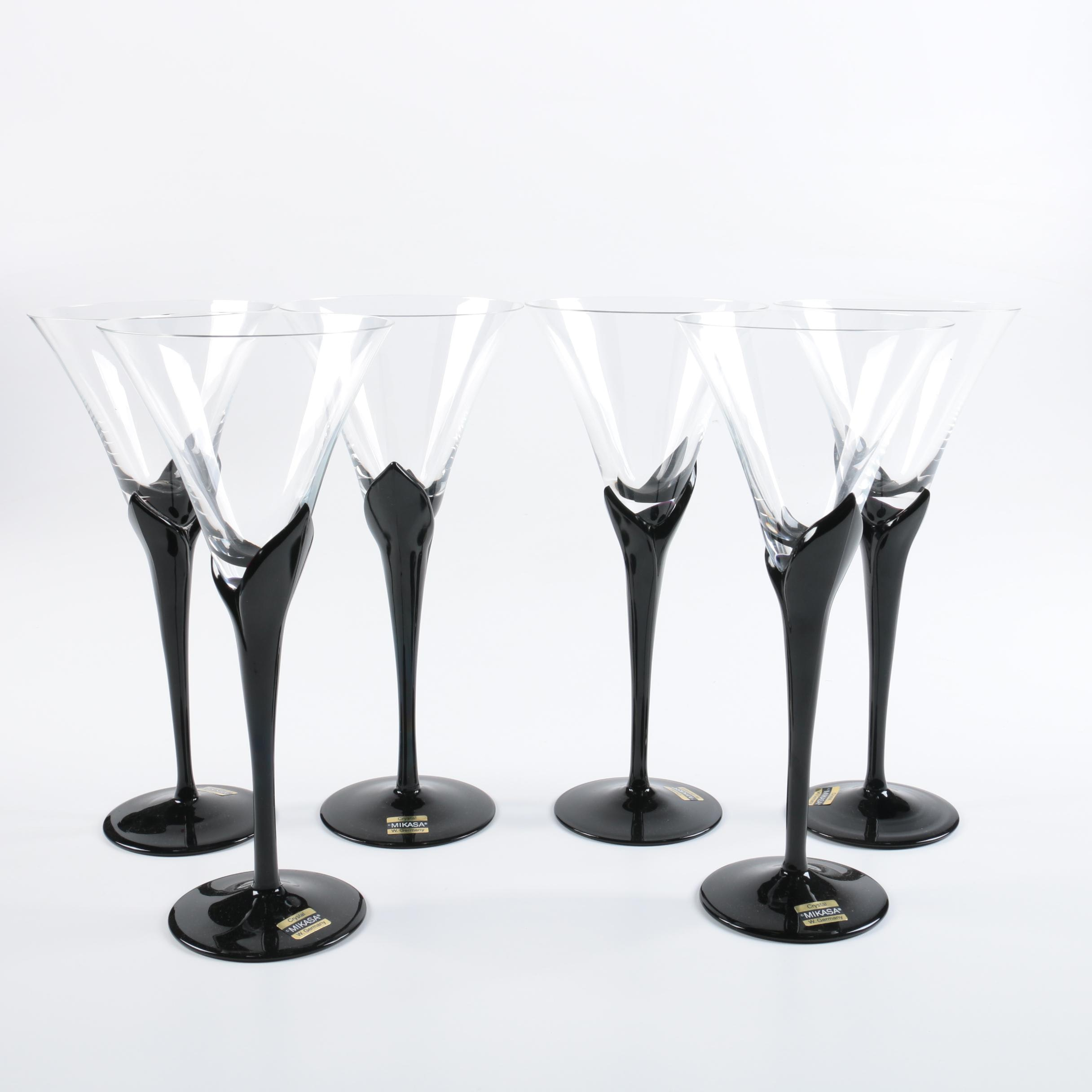 """Mikasa """"Vogue Onyx"""" Crystal Water Goblets"""
