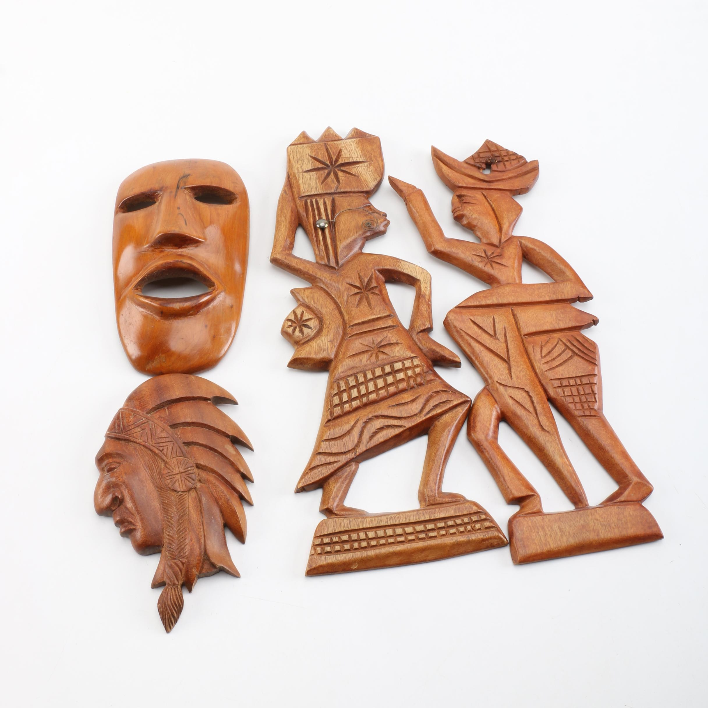 Carved Wood Plaques and Masks