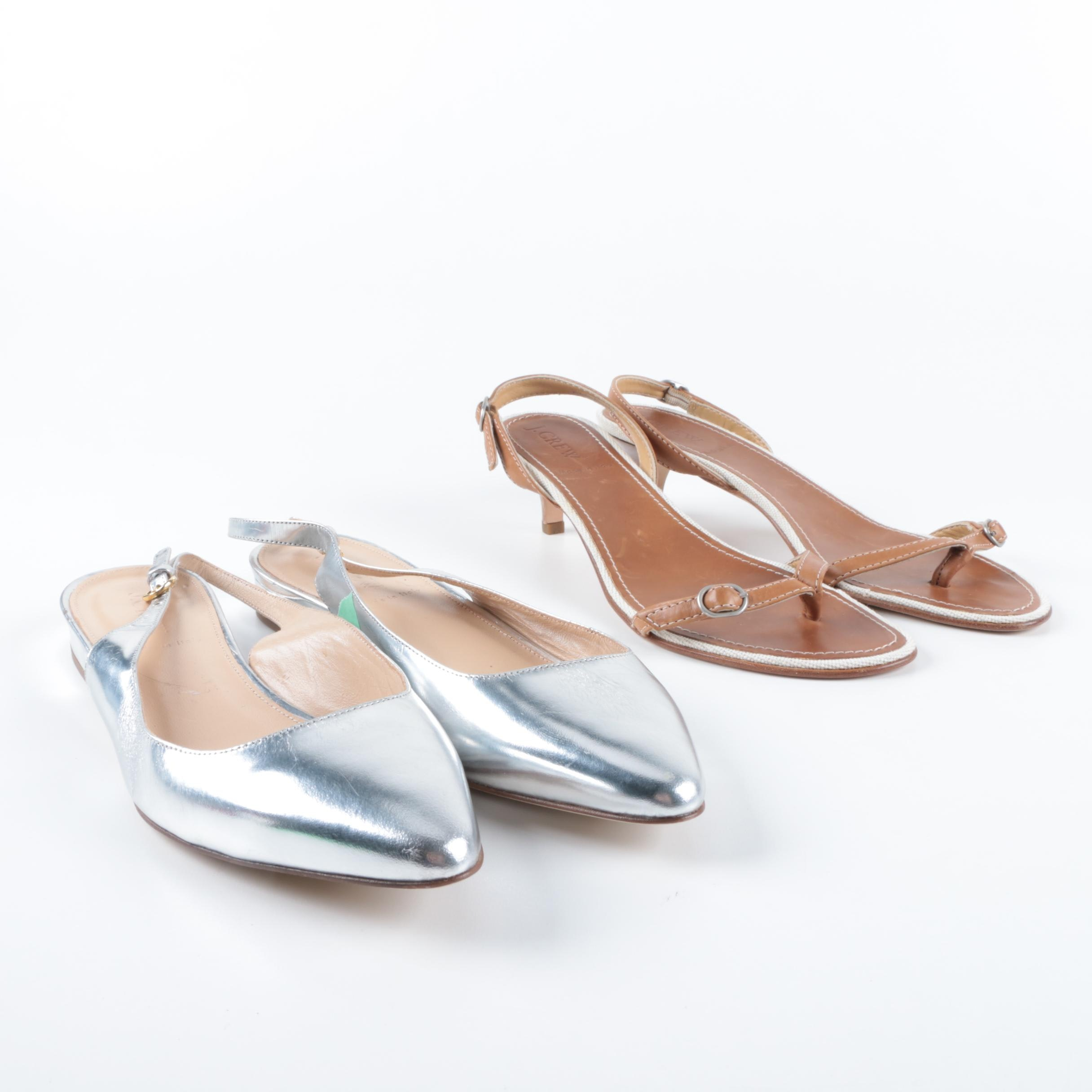 Women's J. Crew Leather Slingback Kitten Heels and Metallic Silver Flats
