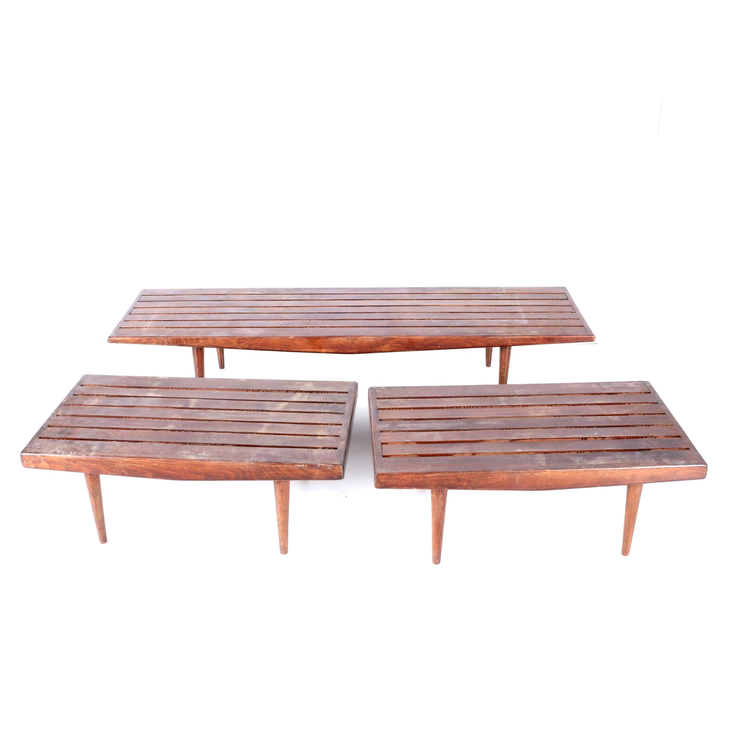 Three Mid Century Modern Walnut-Finished Tables