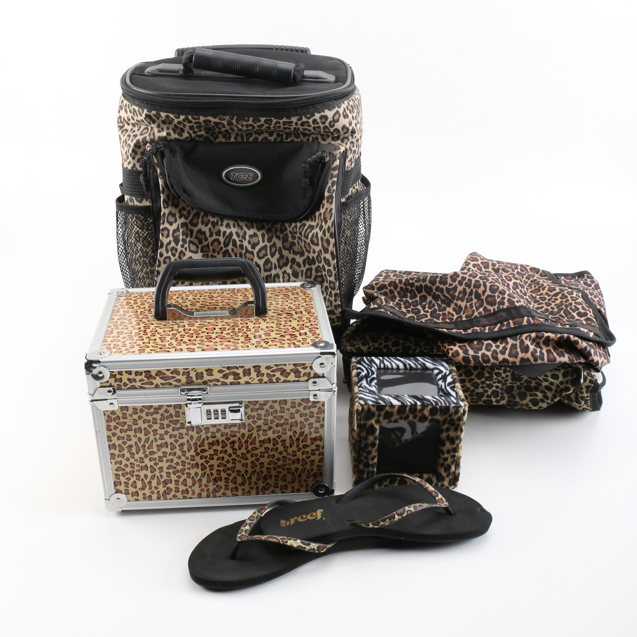 Leopard Print Luggage and Sandals Including LeSportsac