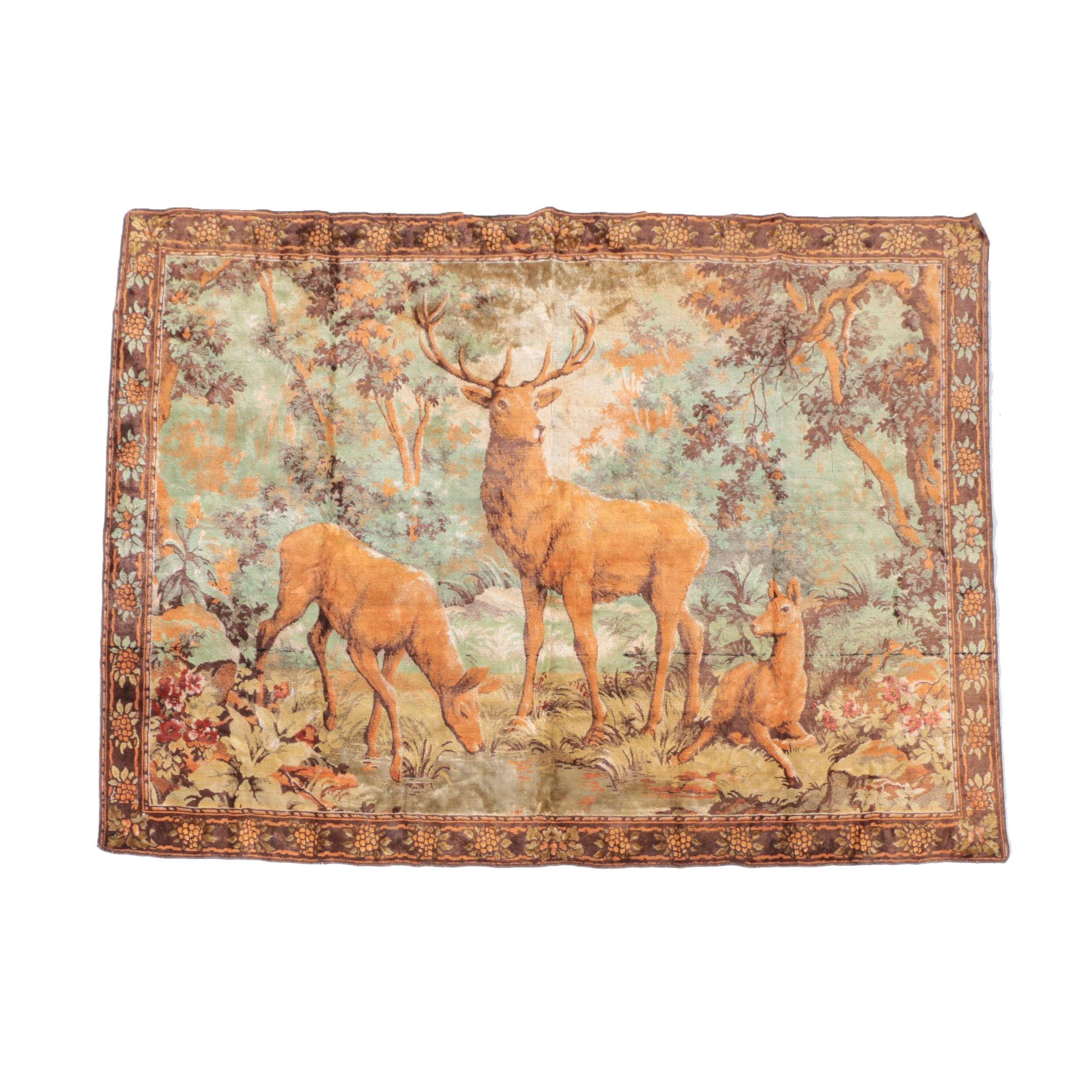 Vintage Machine Made Landscape Tapestry