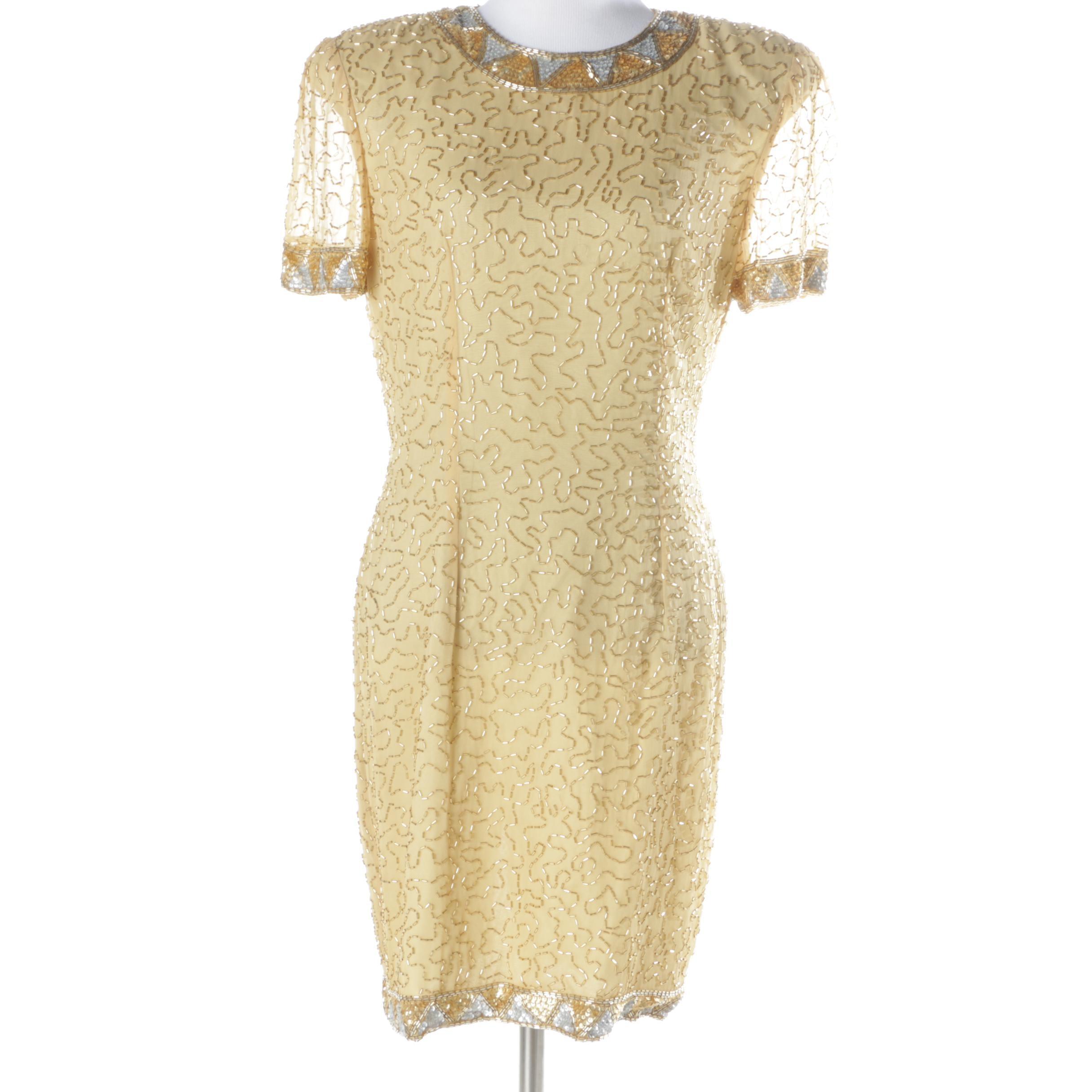 Women's A.J. Bari Beaded Cocktail Dress